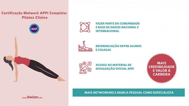 Certificação Pilates Clinico Matwork APPI - Módulo MW2 (class instructor) - Infográfico